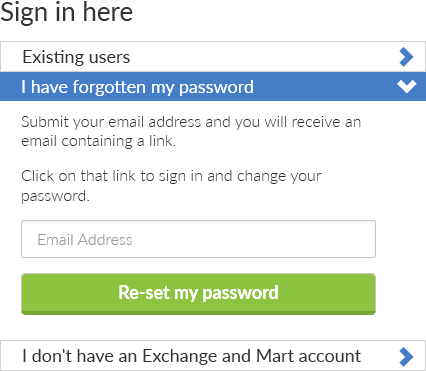 Forgotten password screen.